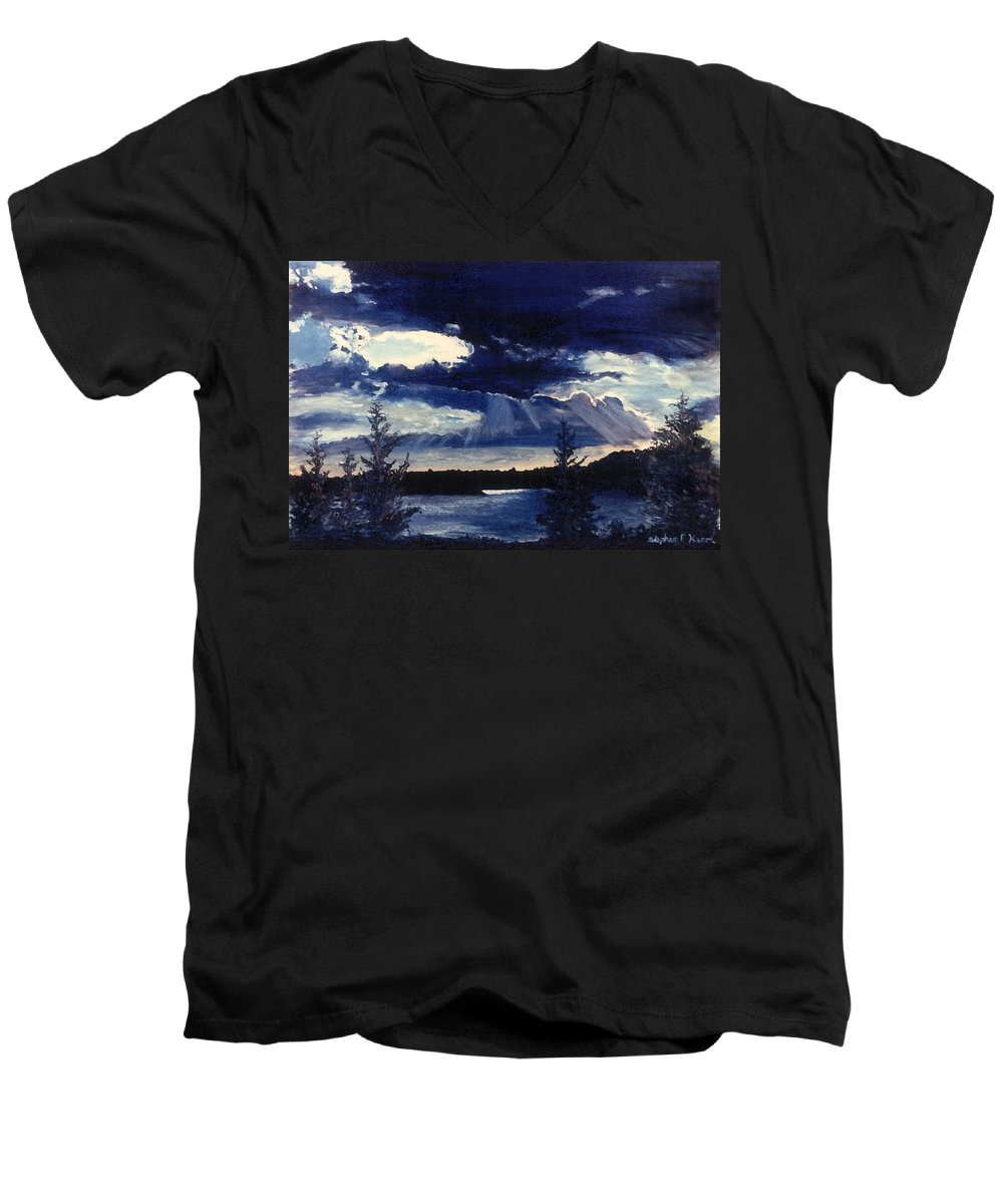 Landscape Men's V-Neck T-Shirt featuring the painting Evening Lake by Steve Karol