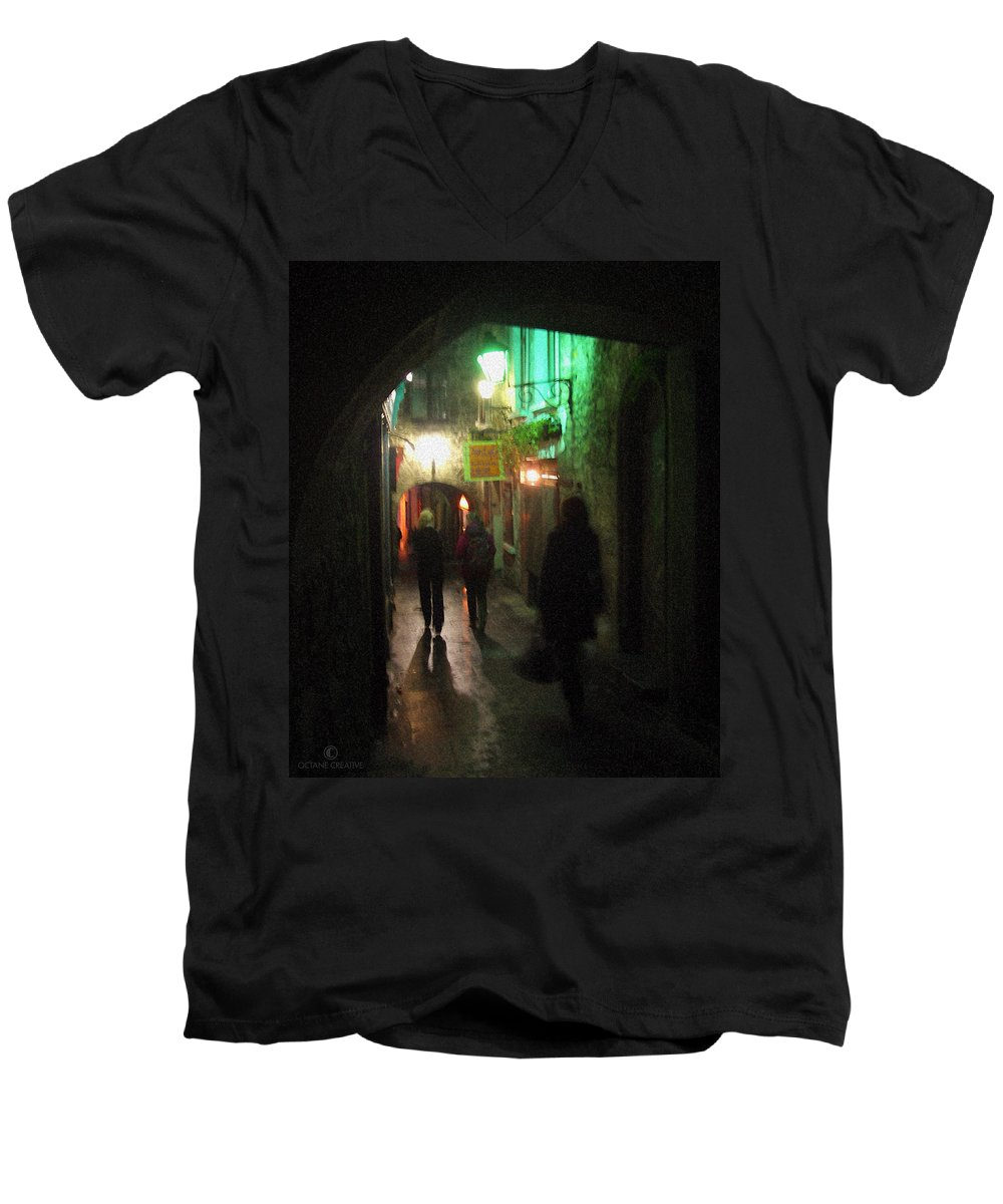 Ireland Men's V-Neck T-Shirt featuring the photograph Evening Shoppers by Tim Nyberg