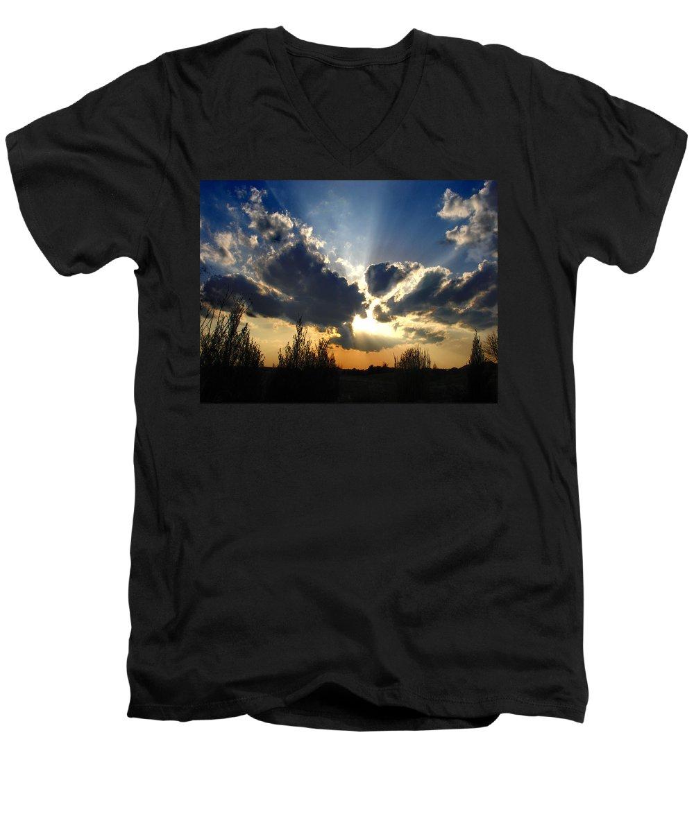 Landscape Men's V-Neck T-Shirt featuring the photograph Evening Sky by Steve Karol