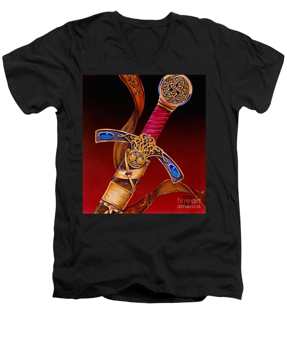 Swords Men's V-Neck T-Shirt featuring the mixed media Excalibur by Melissa A Benson