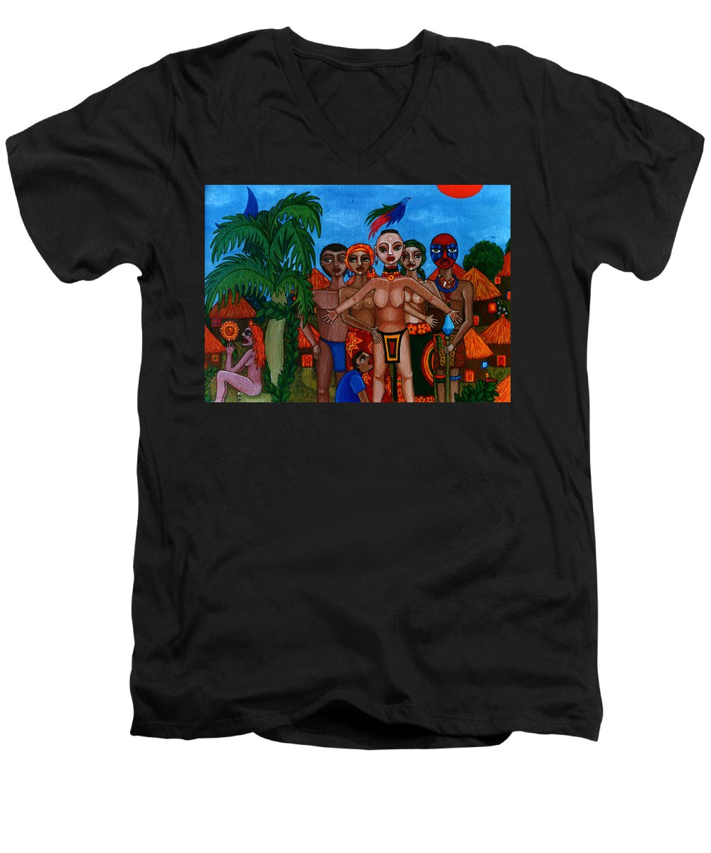 Homeland Men's V-Neck T-Shirt featuring the painting Exiled In Homeland by Madalena Lobao-Tello