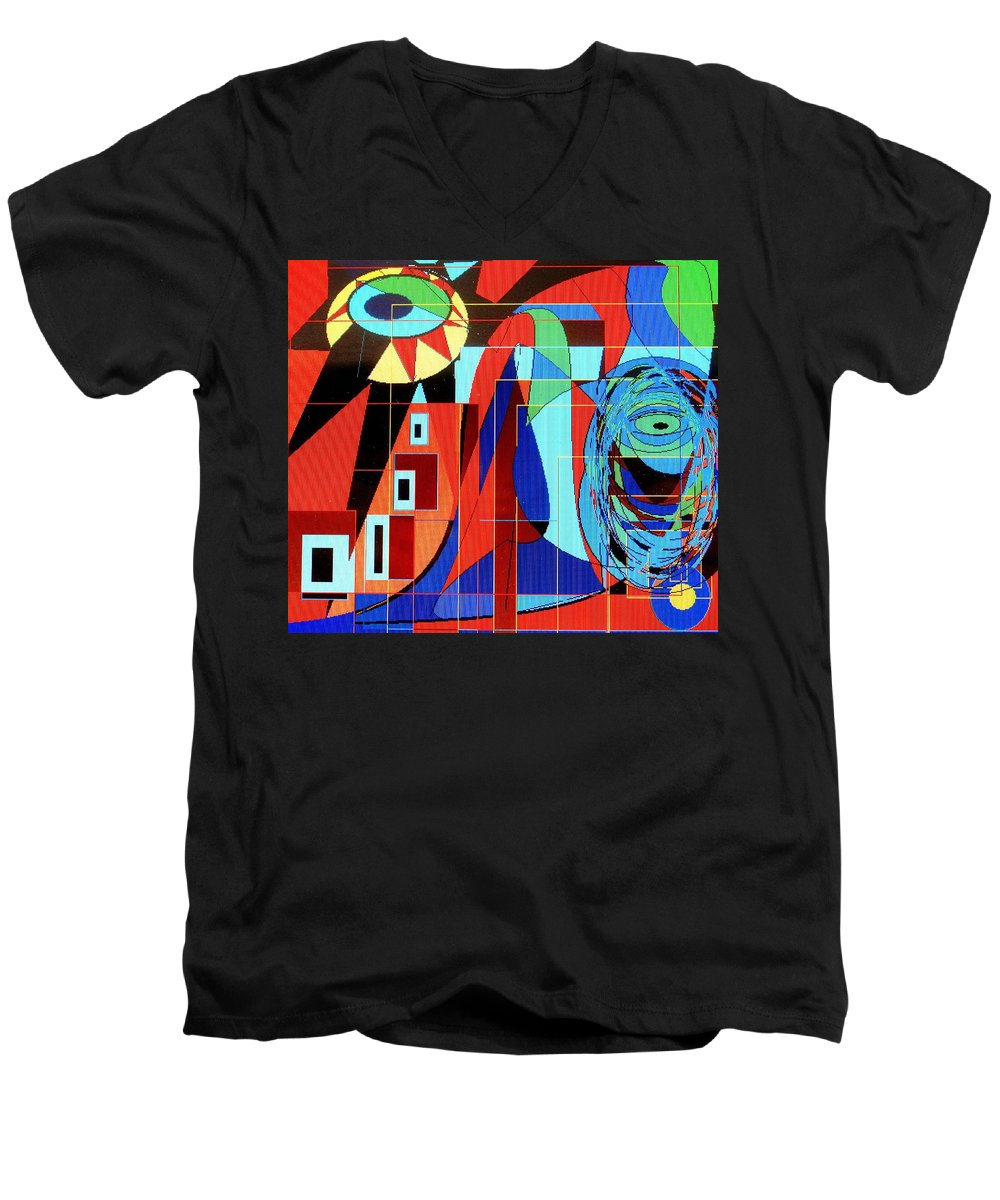 Eye Men's V-Neck T-Shirt featuring the digital art Eye Of The Tiger by Ian MacDonald