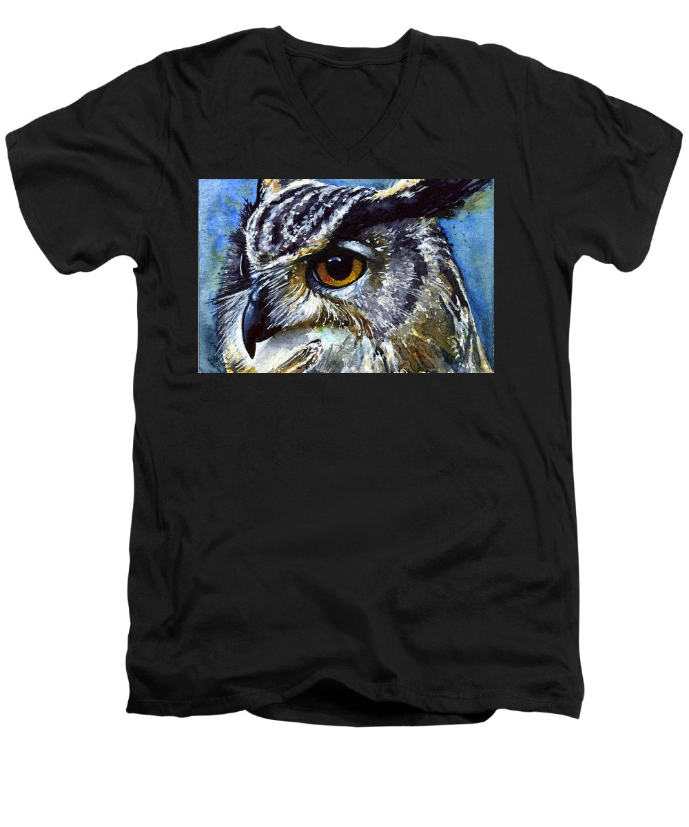 Owls Men's V-Neck T-Shirt featuring the painting Eyes Of Owls No.25 by John D Benson