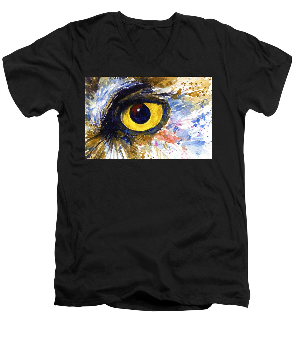 Owls Men's V-Neck T-Shirt featuring the painting Eyes Of Owl's No.6 by John D Benson