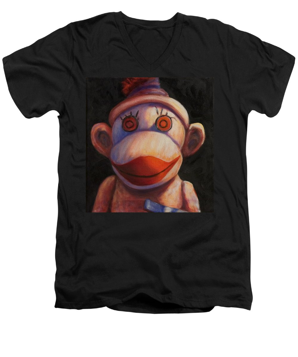 Children Men's V-Neck T-Shirt featuring the painting Face by Shannon Grissom