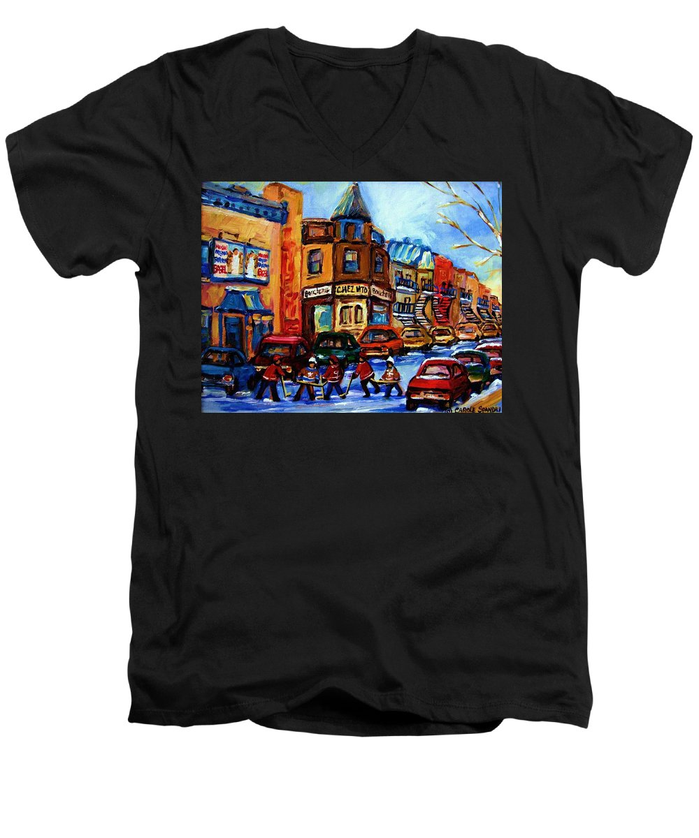 Hockey Men's V-Neck T-Shirt featuring the painting Fairmount Bagel With Hockey Game by Carole Spandau