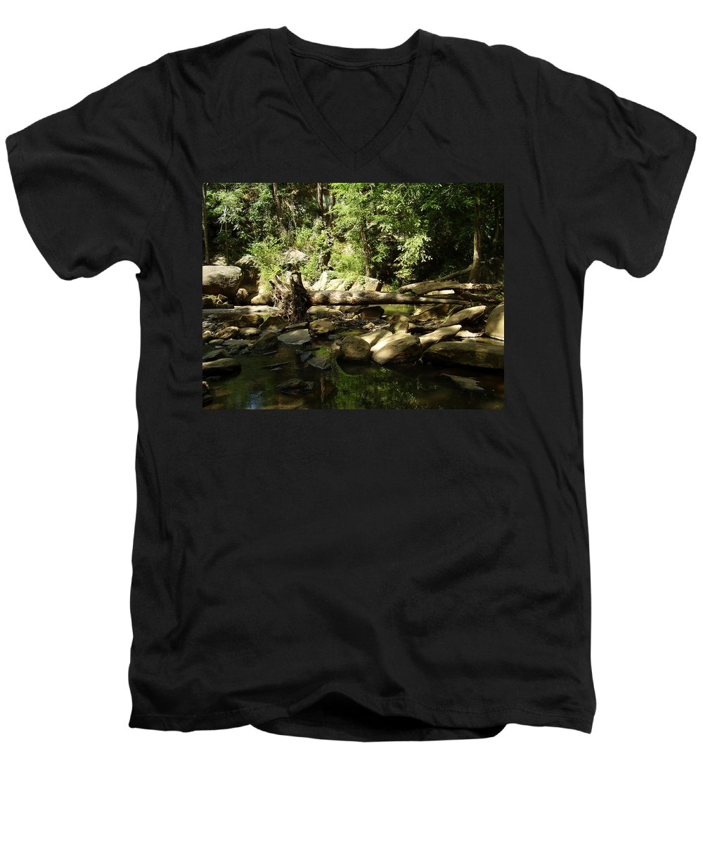 Falls Park Men's V-Neck T-Shirt featuring the photograph Falls Park by Flavia Westerwelle