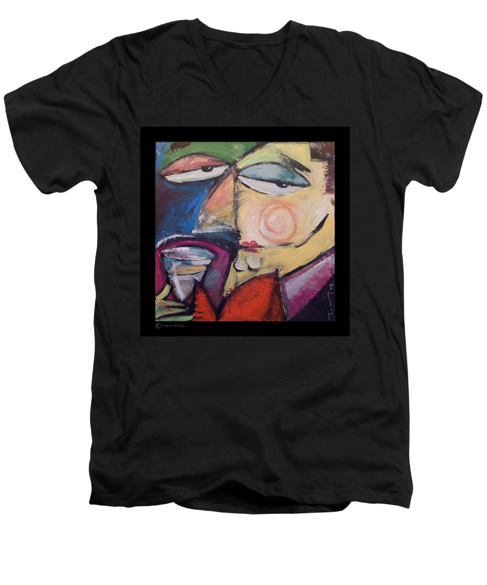 Humor Men's V-Neck T-Shirt featuring the painting Fancy Man At Art Opening by Tim Nyberg