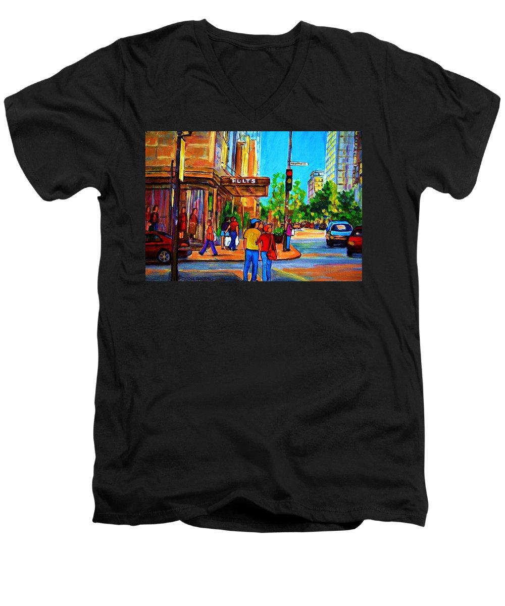 Holt Renfrew Men's V-Neck T-Shirt featuring the painting Fashionable Holt Renfrew by Carole Spandau