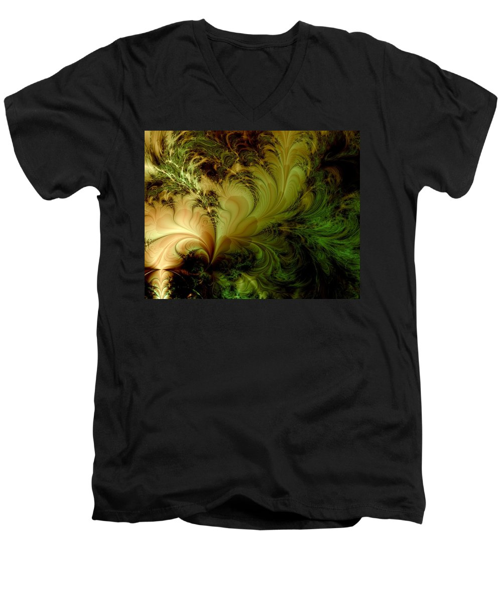 Feather Men's V-Neck T-Shirt featuring the digital art Feathery Fantasy by Casey Kotas