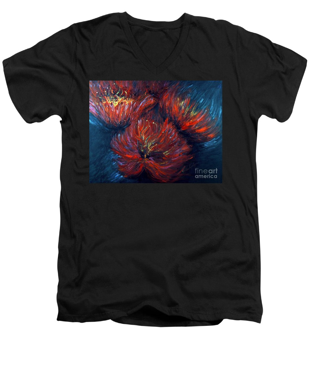 Abstract Men's V-Neck T-Shirt featuring the painting Fellowship by Nadine Rippelmeyer