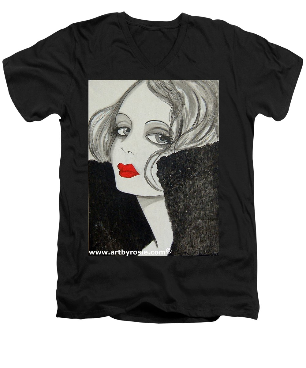 Cinema Men's V-Neck T-Shirt featuring the painting Femme Fatale by Rosie Harper