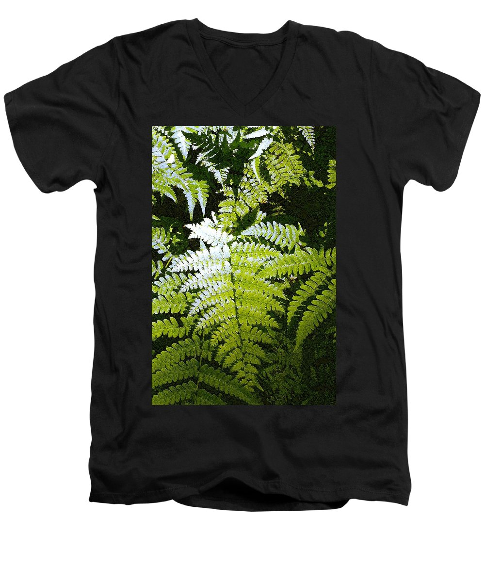 Ferns Men's V-Neck T-Shirt featuring the photograph Ferns by Nelson Strong