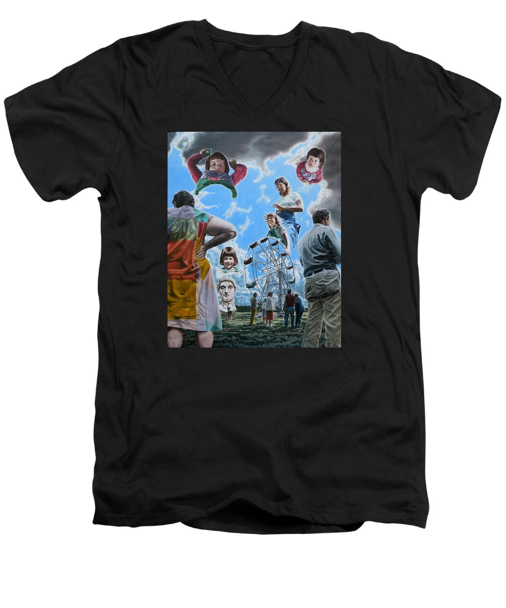 Woman Men's V-Neck T-Shirt featuring the painting Ferris Wheel by Dave Martsolf