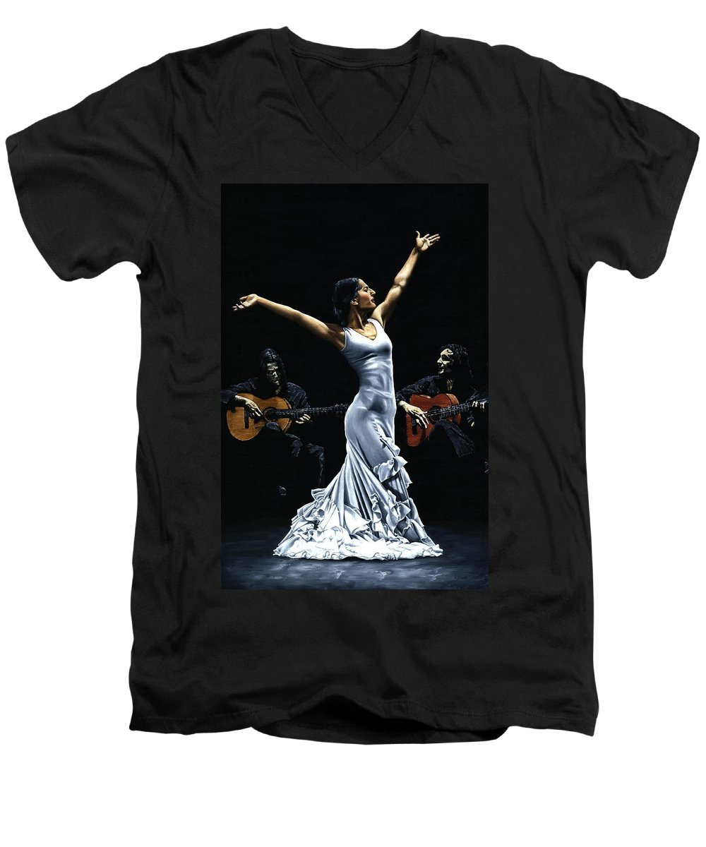 Flamenco Men's V-Neck T-Shirt featuring the painting Finale Del Funcionamiento Del Flamenco by Richard Young