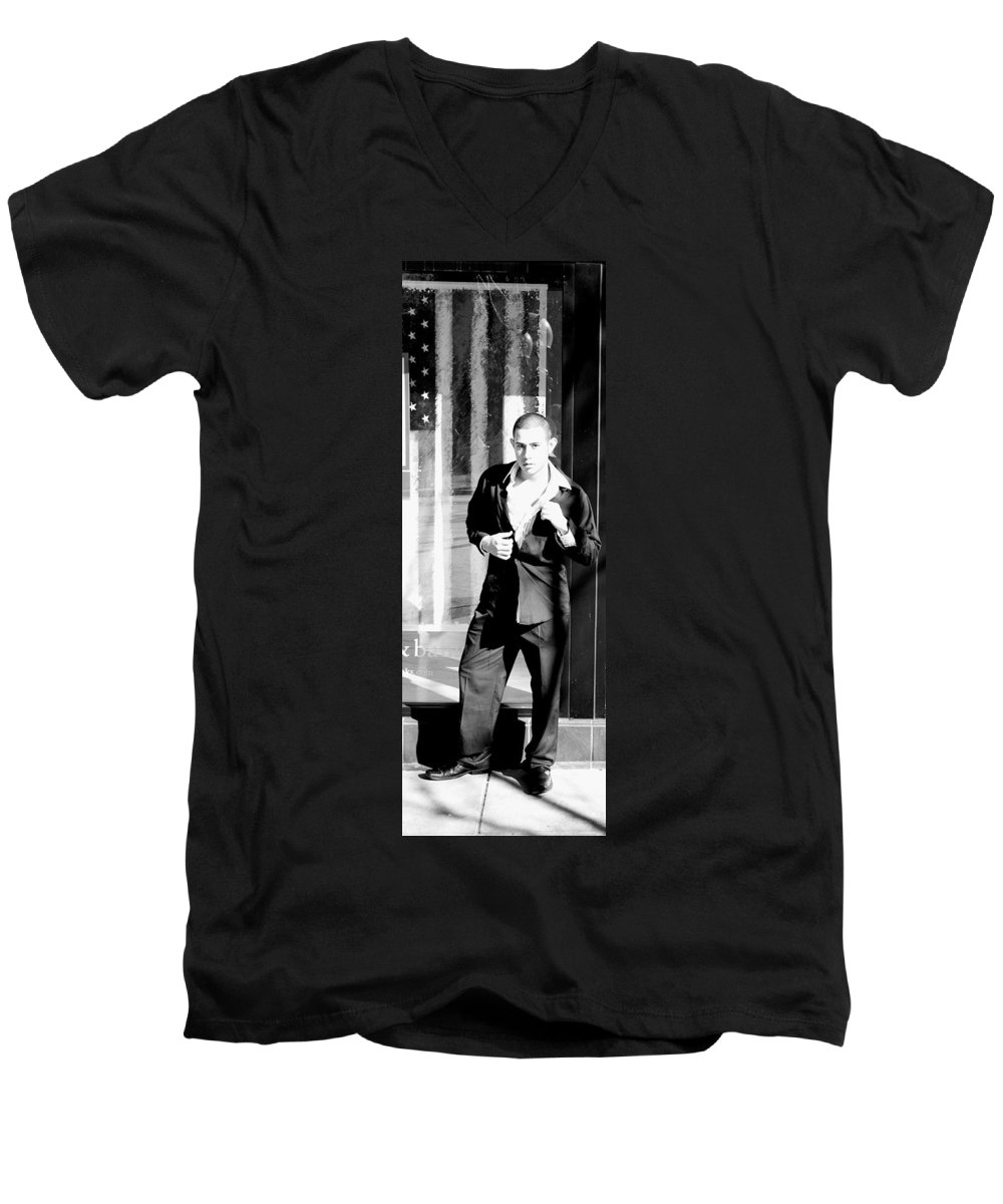 America Men's V-Neck T-Shirt featuring the photograph Fine American Model by Angus Hooper Iii