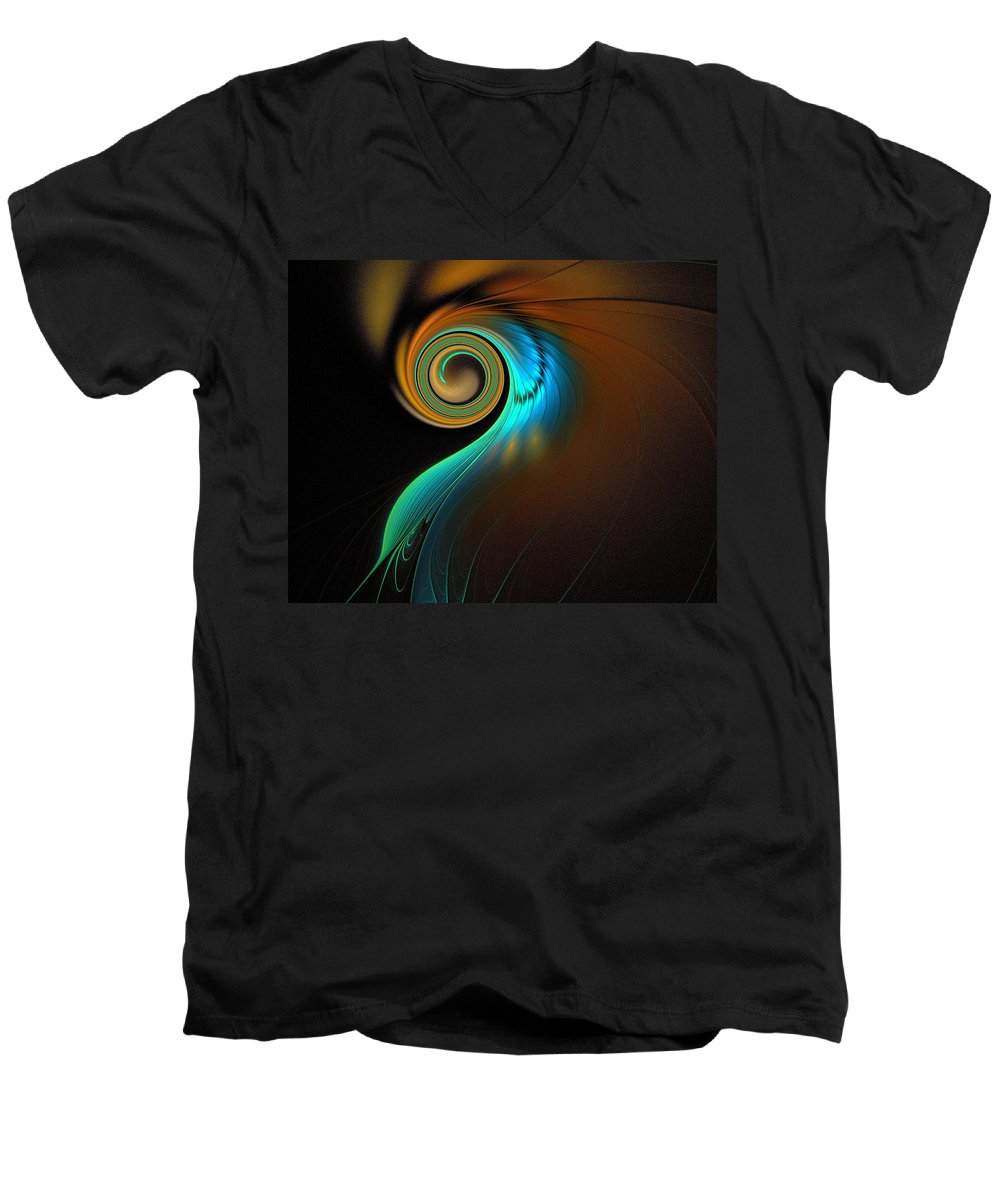 Digital Art Men's V-Neck T-Shirt featuring the digital art Fine Feathers by Amanda Moore