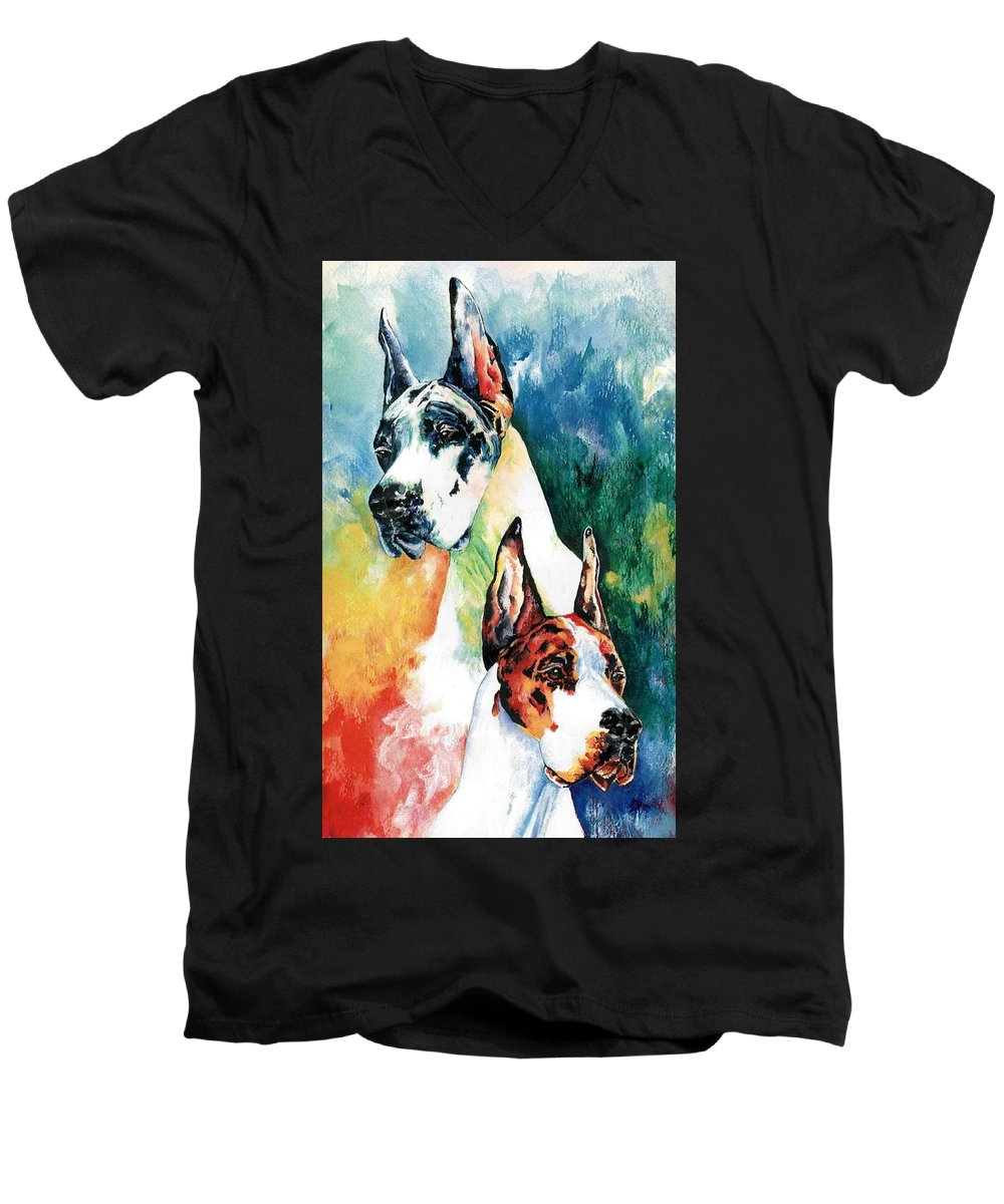 Great Dane Men's V-Neck T-Shirt featuring the painting Fire And Ice by Kathleen Sepulveda