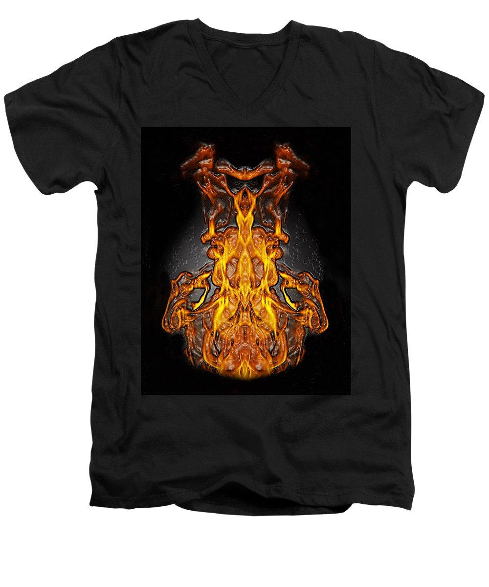 Devil Men's V-Neck T-Shirt featuring the photograph Fire Leather by Peter Piatt