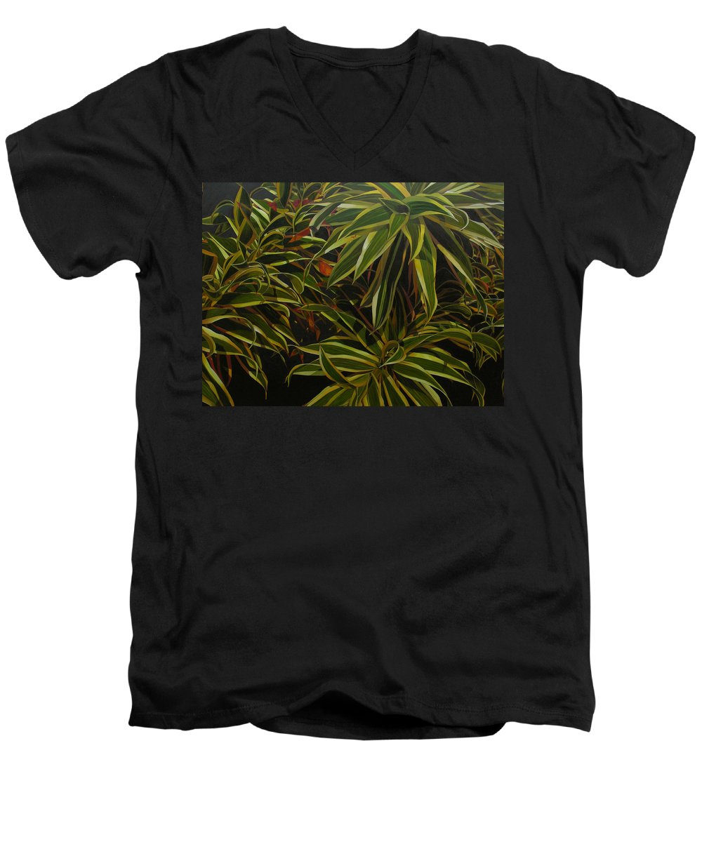 Leaves Men's V-Neck T-Shirt featuring the painting First In Cabot by Thu Nguyen