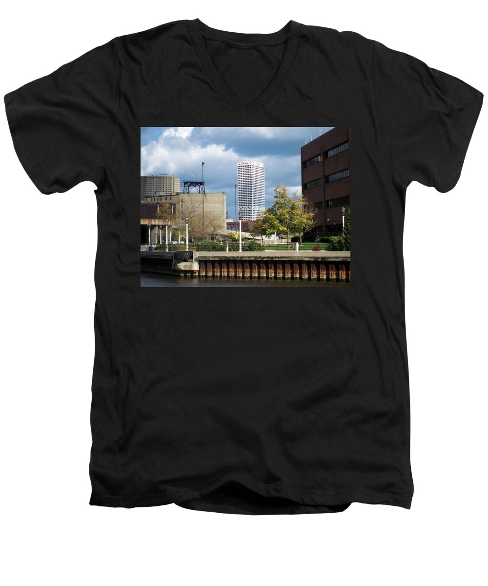 First Star Bank Men's V-Neck T-Shirt featuring the photograph First Star View From River by Anita Burgermeister