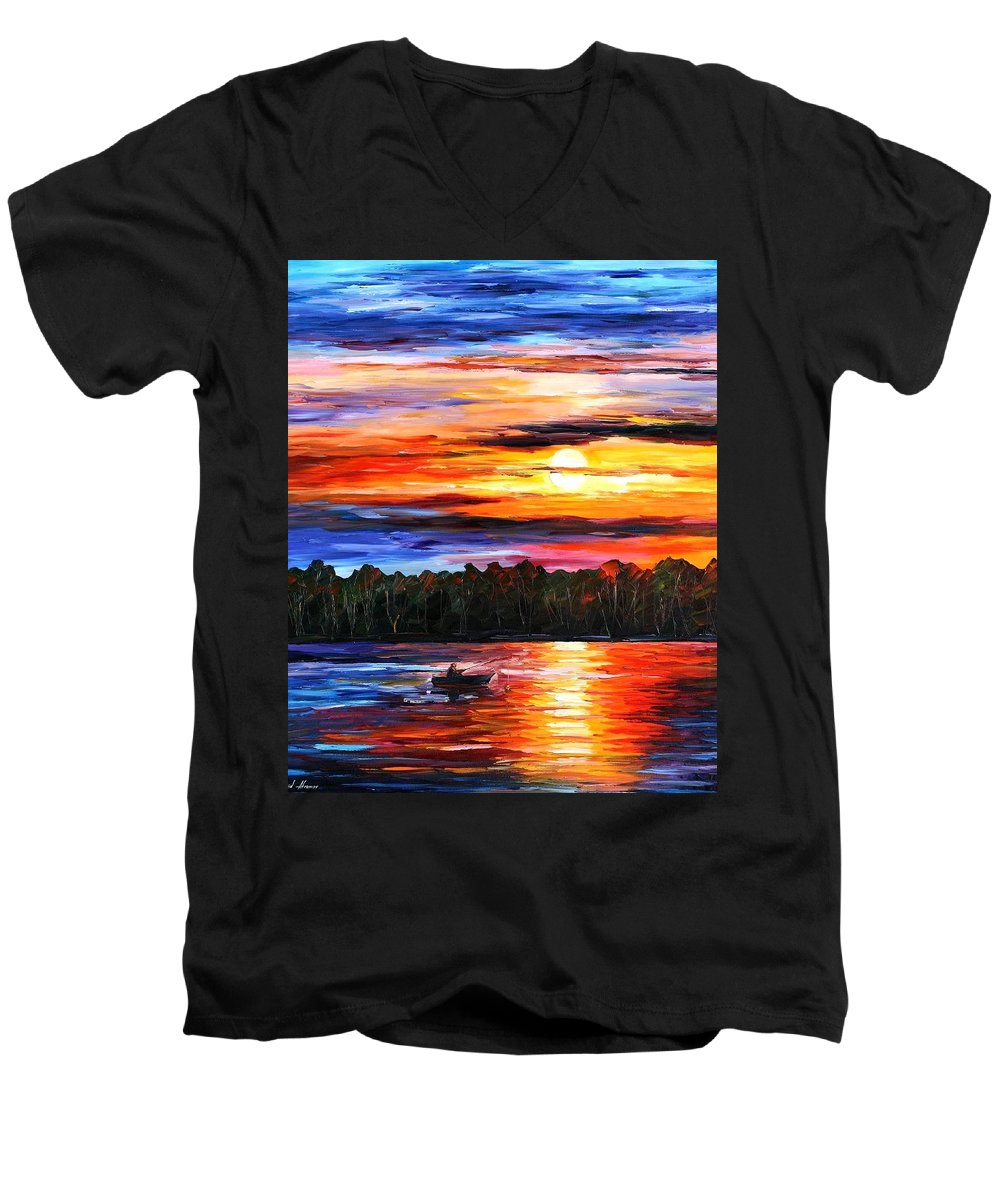 Seascape Men's V-Neck T-Shirt featuring the painting Fishing By The Sunset by Leonid Afremov