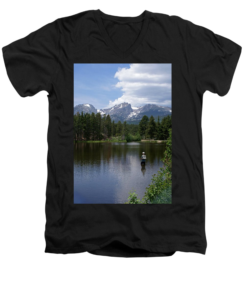 Fishing Men's V-Neck T-Shirt featuring the photograph Fishing In Colorado by Heather Coen