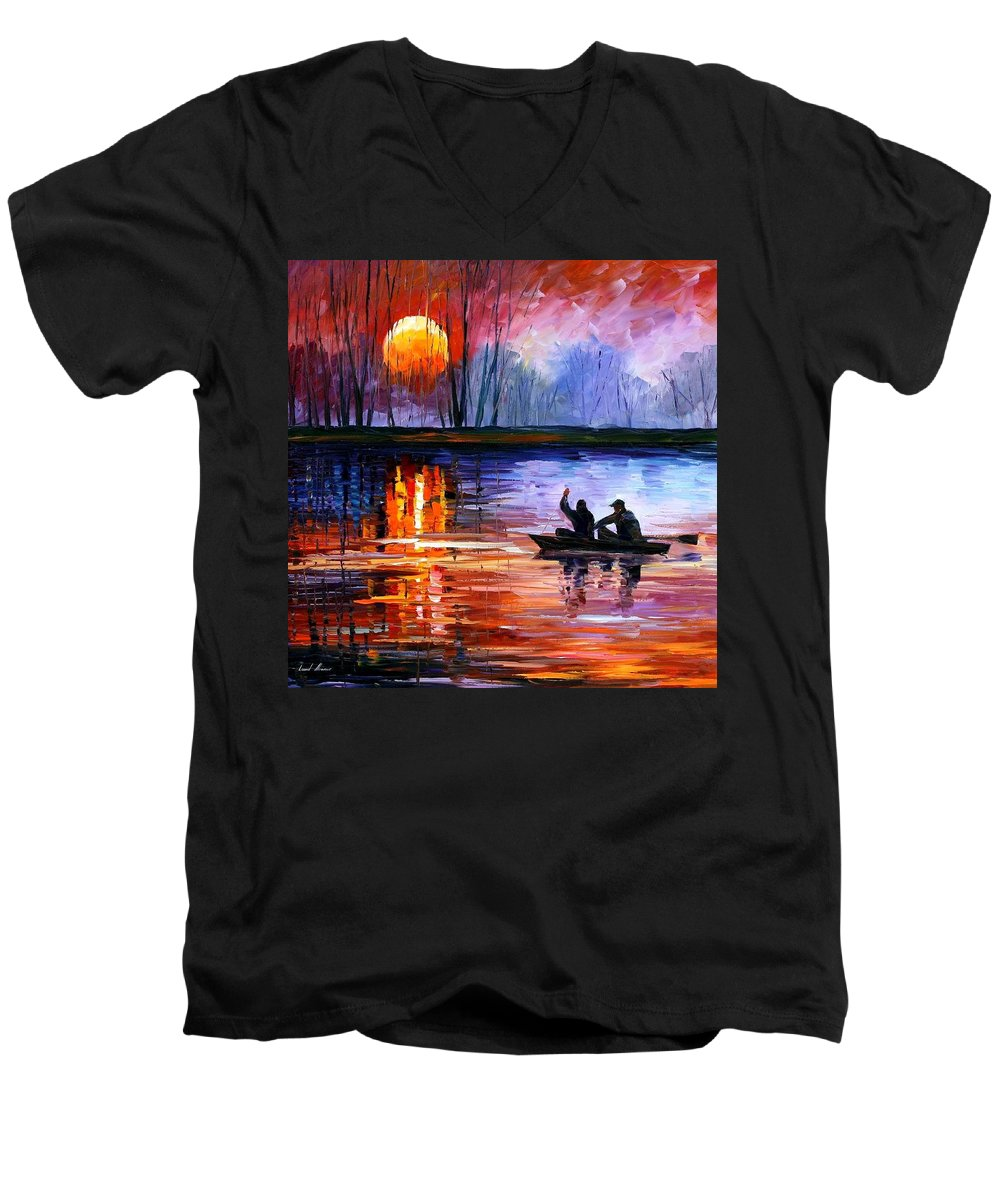Seascape Men's V-Neck T-Shirt featuring the painting Fishing On The Lake by Leonid Afremov