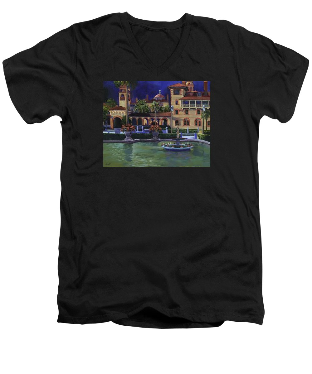 St. Augustine\'s Flagler College Campus Men's V-Neck T-Shirt featuring the painting Flagler College II by Christine Cousart