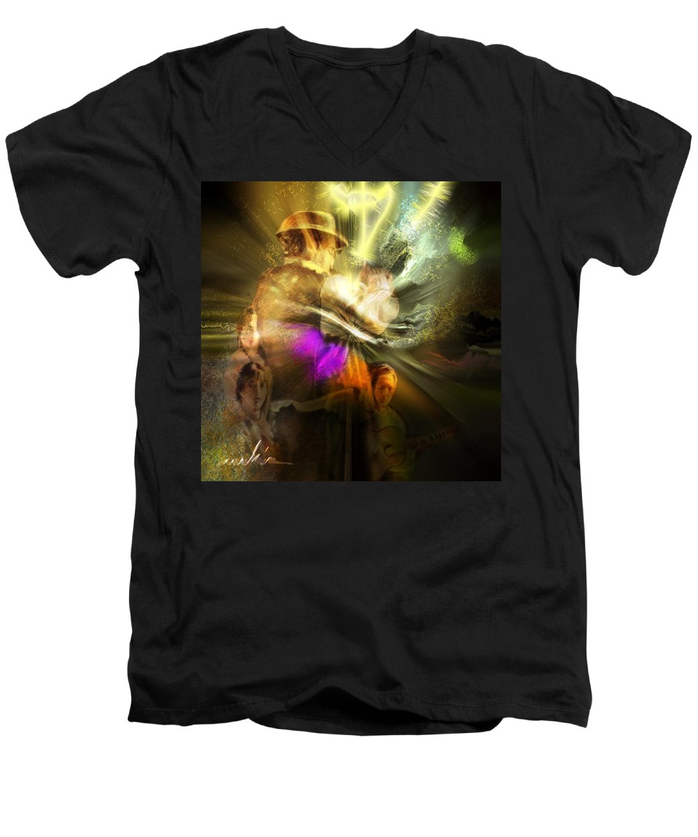 Spain Men's V-Neck T-Shirt featuring the painting Flamenco by Miki De Goodaboom