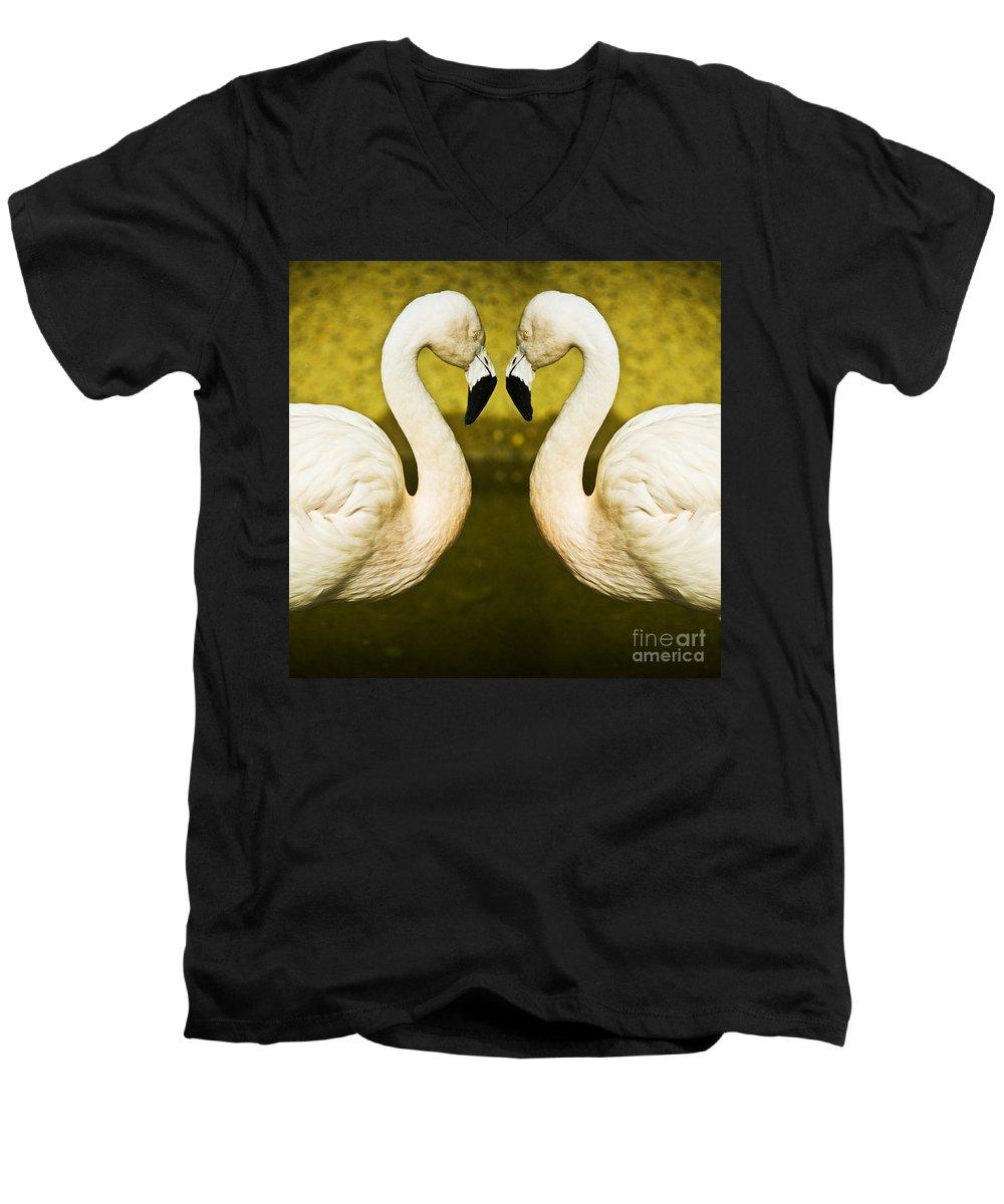 Flamingo Men's V-Neck T-Shirt featuring the photograph Flamingo Reflection by Avalon Fine Art Photography