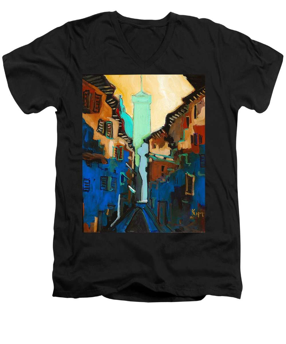 Florence Men's V-Neck T-Shirt featuring the painting Florence Street Study by Kurt Hausmann