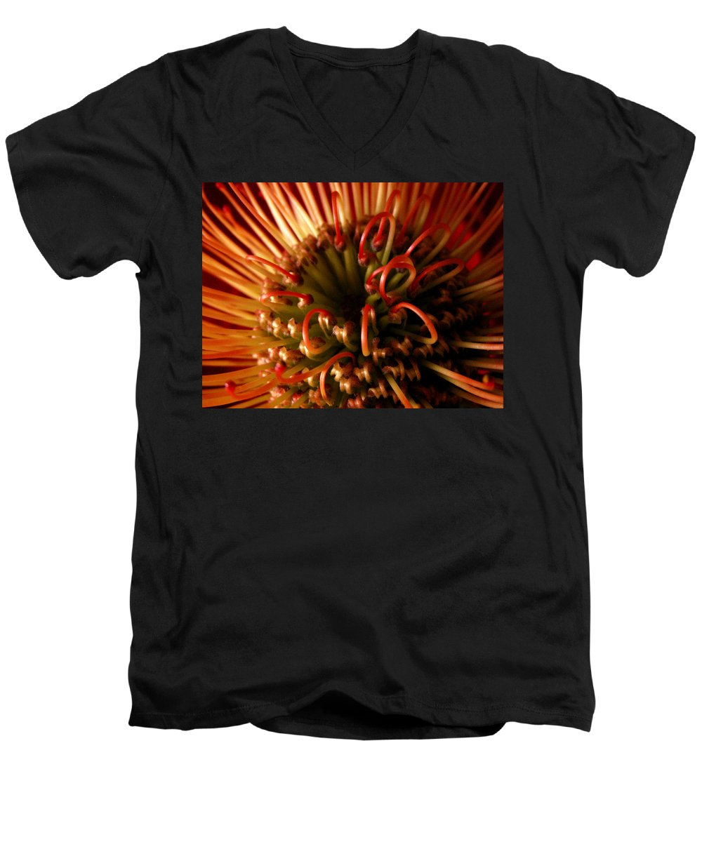Flowers Men's V-Neck T-Shirt featuring the photograph Flower Hawaiian Protea by Nancy Griswold