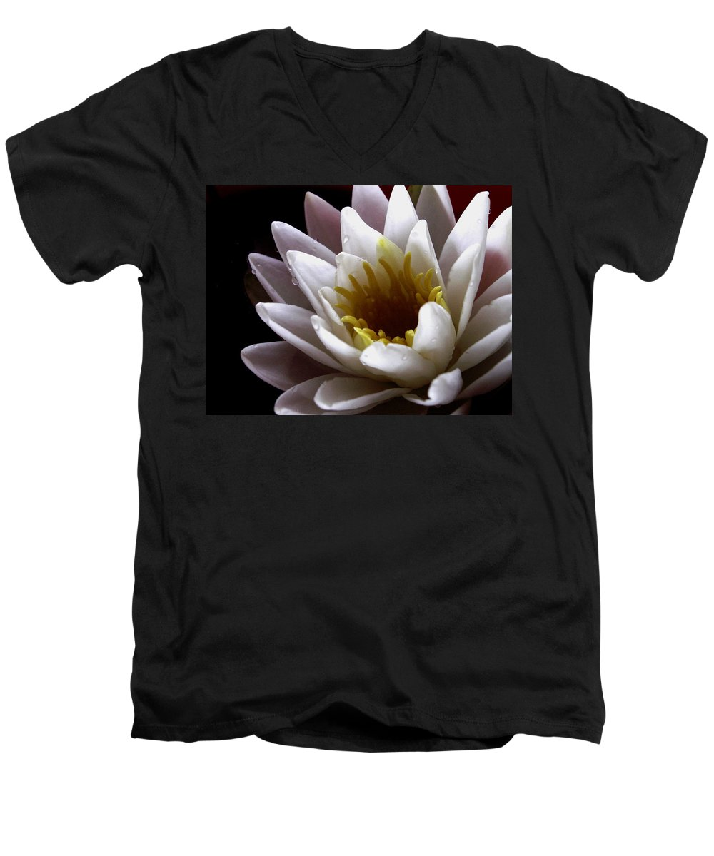 Flowers Men's V-Neck T-Shirt featuring the photograph Flower Waterlily by Nancy Griswold