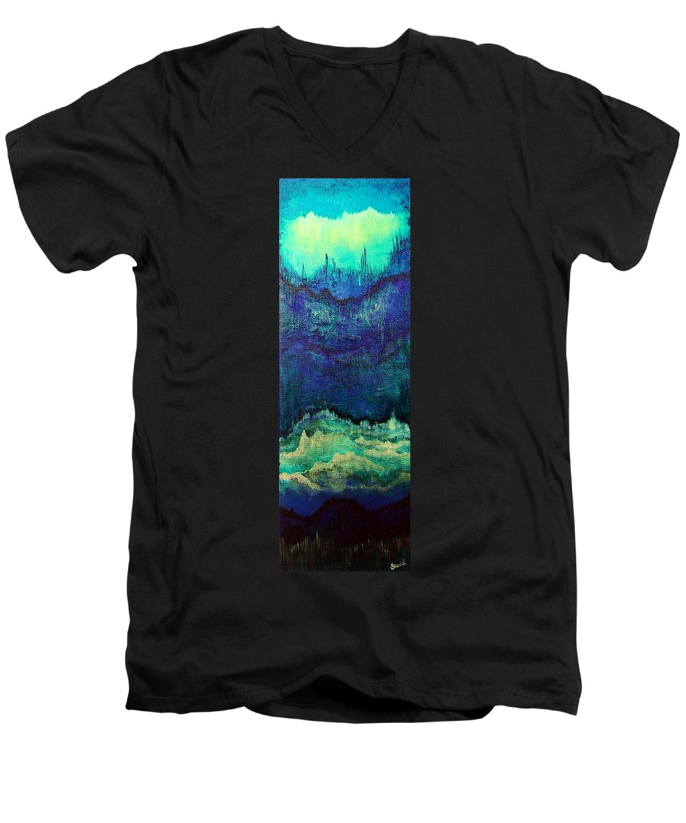 Blue Men's V-Neck T-Shirt featuring the painting For Linda by Shadia Derbyshire