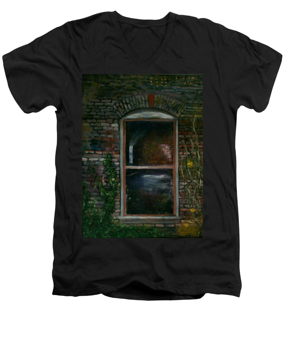 Landscape Men's V-Neck T-Shirt featuring the painting For Rent by Stephen King