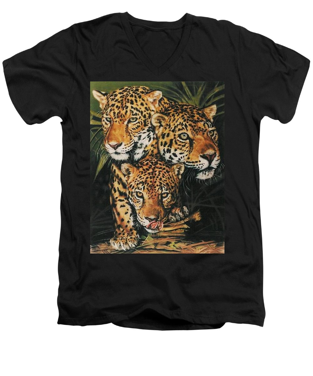 Jaguar Men's V-Neck T-Shirt featuring the pastel Forest Jewels by Barbara Keith