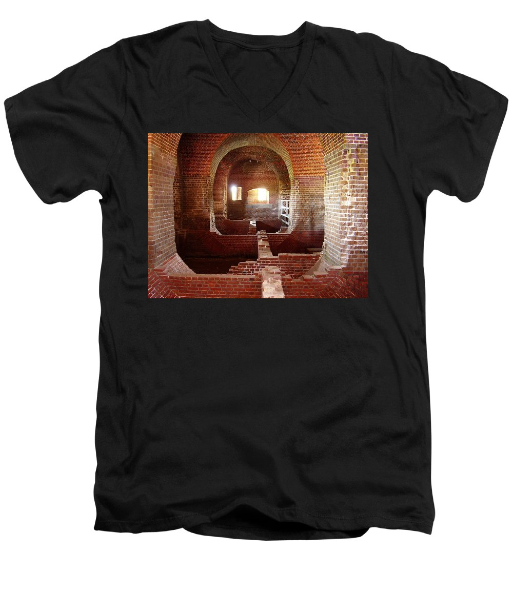 Fort Pulaski Men's V-Neck T-Shirt featuring the photograph Fort Pulaski I by Flavia Westerwelle