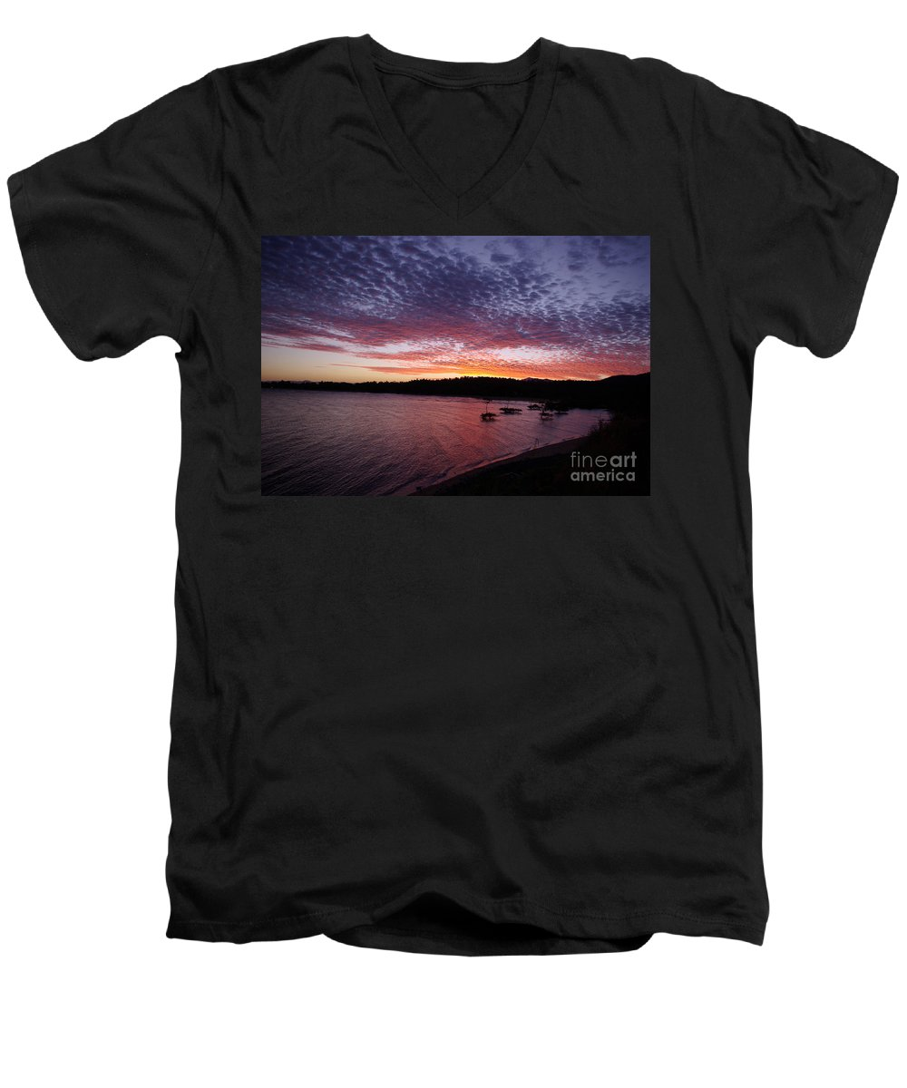 Landscape Men's V-Neck T-Shirt featuring the photograph Four Elements Sunset Sequence 1 Coconuts Qld by Kerryn Madsen - Pietsch