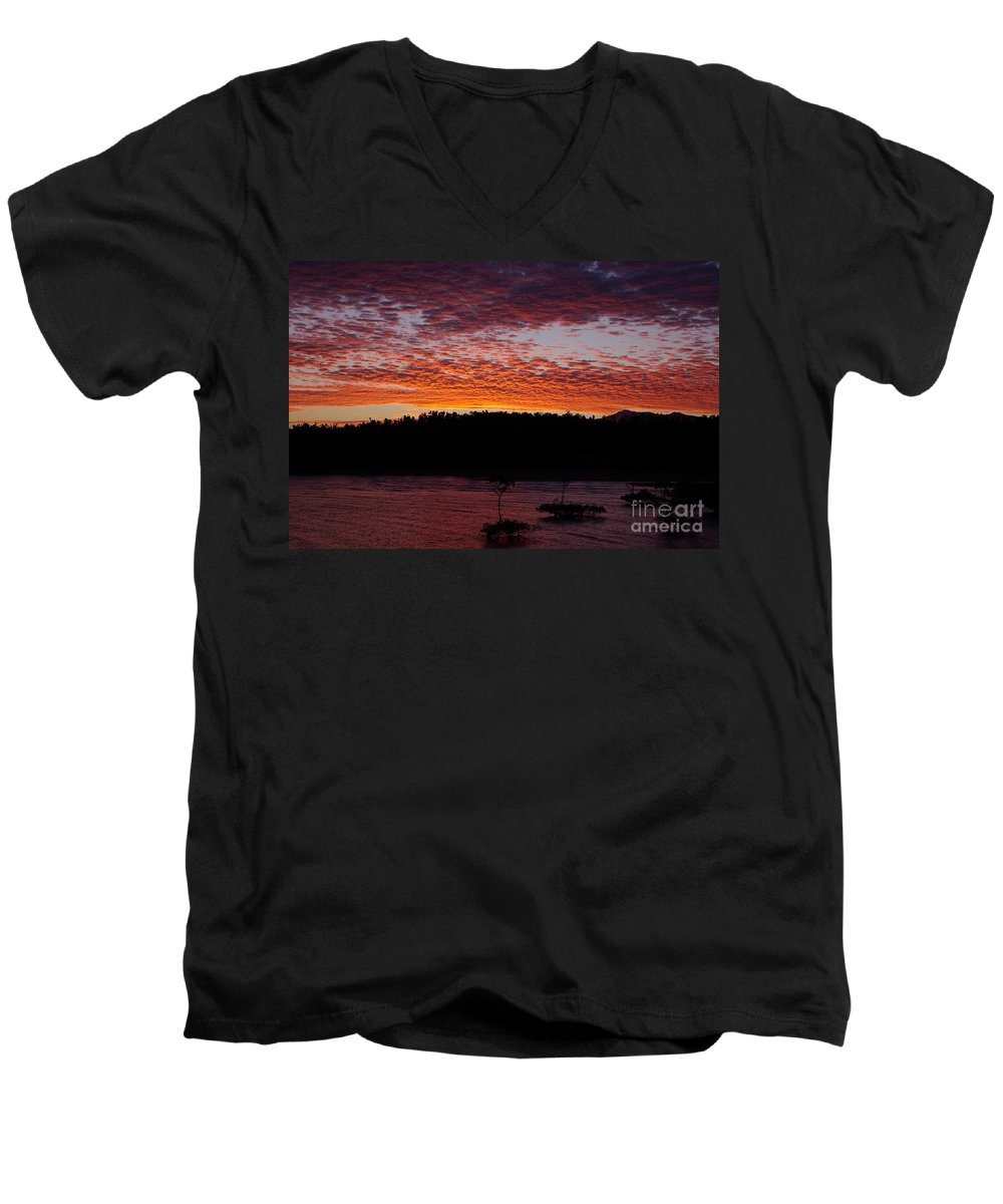 Landscape Men's V-Neck T-Shirt featuring the photograph Four Elements Sunset Sequence 2 Coconuts Qld by Kerryn Madsen - Pietsch