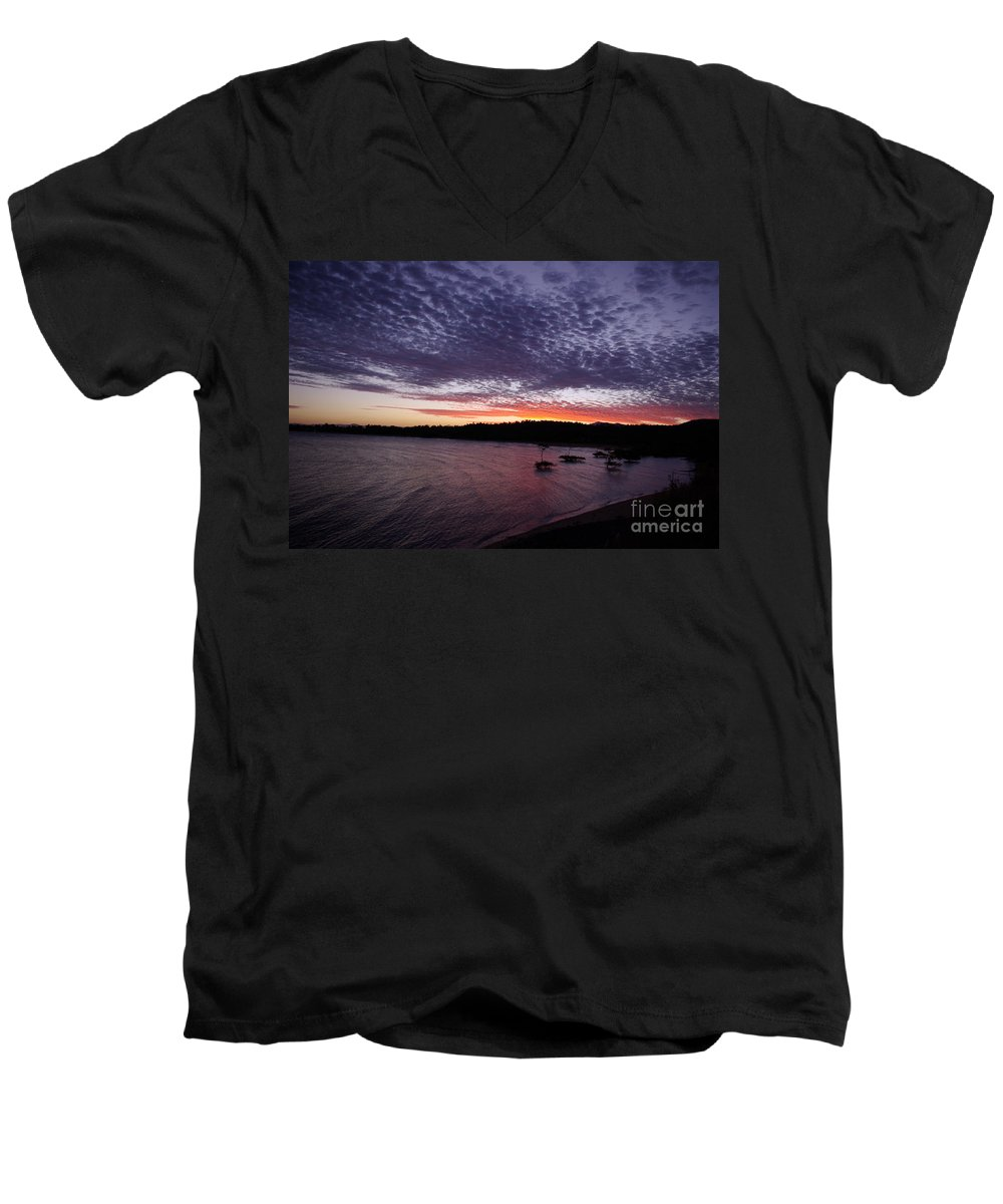 Landscape Men's V-Neck T-Shirt featuring the photograph Four Elements Sunset Sequence 7 Coconuts Qld by Kerryn Madsen - Pietsch