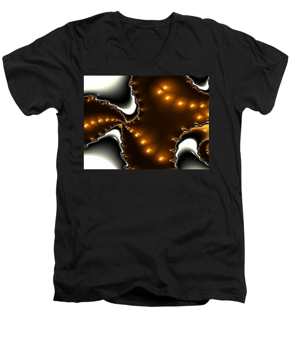 Nest Eggs Fractals Jewels Men's V-Neck T-Shirt featuring the digital art Fractal 2 by Veronica Jackson