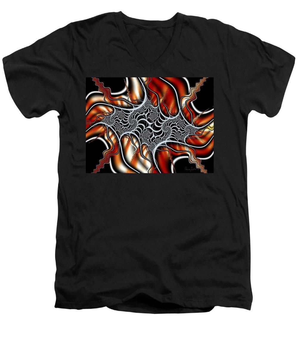 Veins Strings Lines Men's V-Neck T-Shirt featuring the digital art Fractal 3 by Veronica Jackson