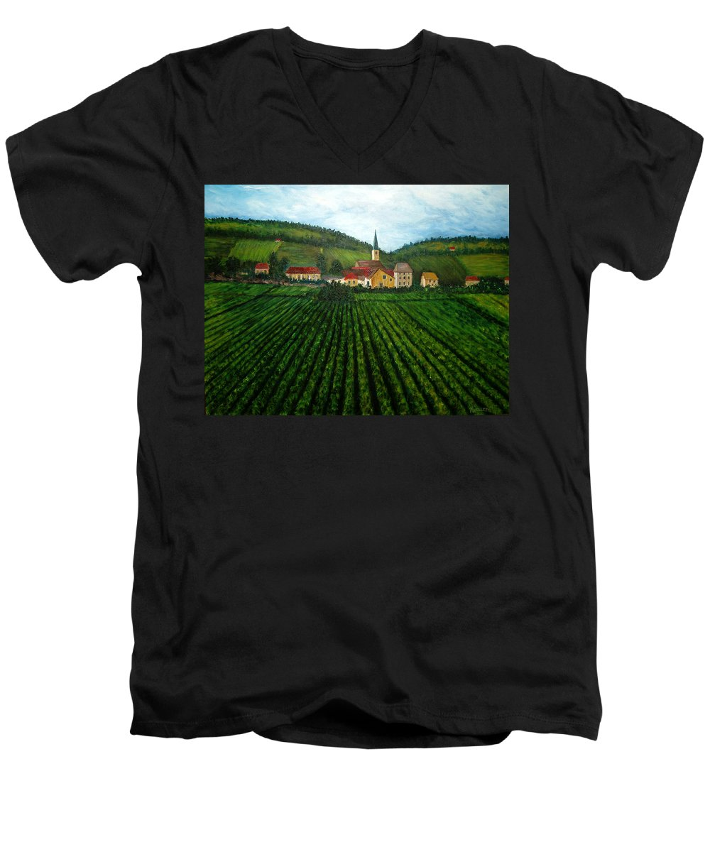 Acrylic Men's V-Neck T-Shirt featuring the painting French Village In The Vineyards by Nancy Mueller