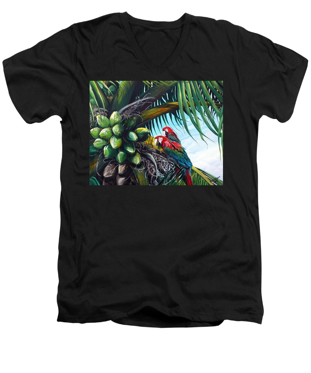 Macaws Bird Painting Coconut Palm Tree Painting Parrots Caribbean Painting Tropical Painting Coconuts Painting Palm Tree Greeting Card Painting Men's V-Neck T-Shirt featuring the painting Friends Of A Feather by Karin Dawn Kelshall- Best