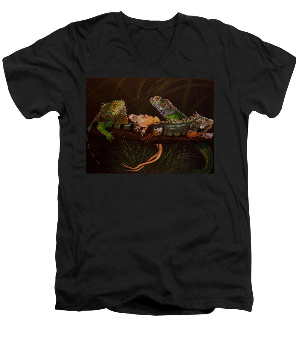 Iguana Men's V-Neck T-Shirt featuring the drawing Full House by Barbara Keith