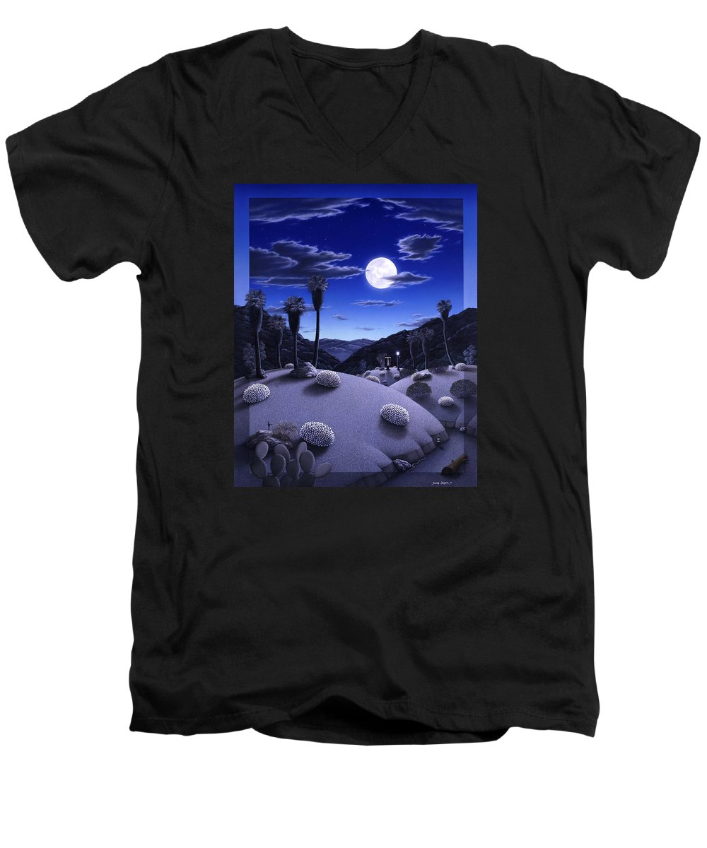 Desert Men's V-Neck T-Shirt featuring the painting Full Moon Rising by Snake Jagger