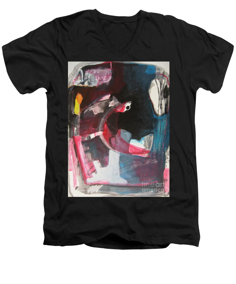 Abstract Paintings Paintings Abstract Art Paintings Men's V-Neck T-Shirt featuring the painting Fumbling With Memory by Seon-Jeong Kim