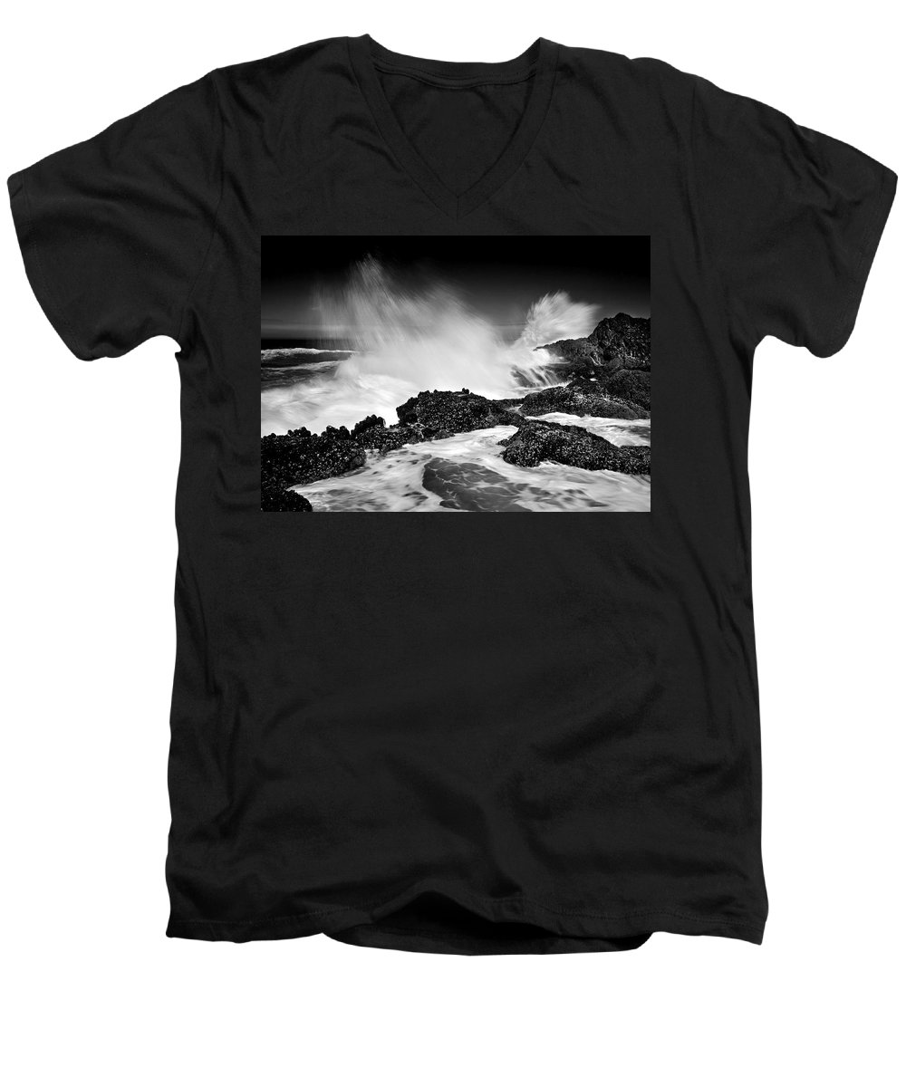 Waves Men's V-Neck T-Shirt featuring the photograph Fury by Mike Dawson