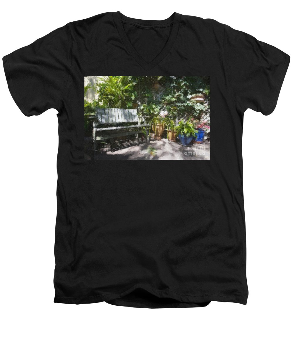 Garden Bench Flowers Impressionism Men's V-Neck T-Shirt featuring the photograph Garden Bench by Avalon Fine Art Photography